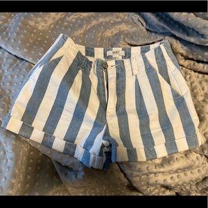Denim and White Striped shorts